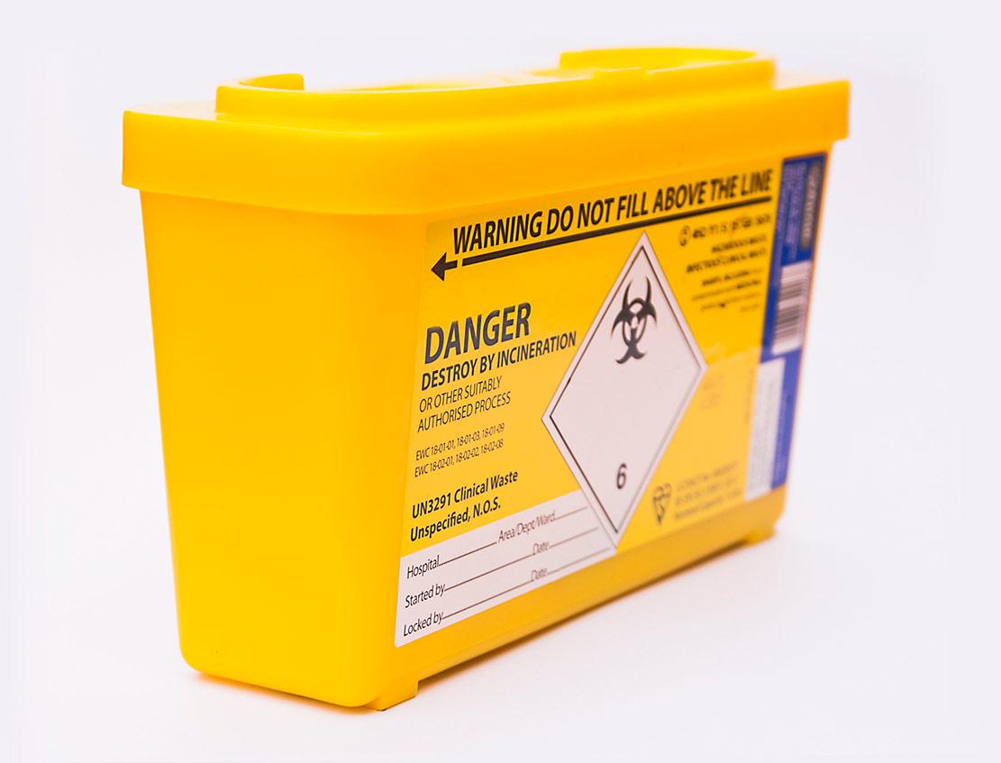 contenedor amarillo residuos sanitarios